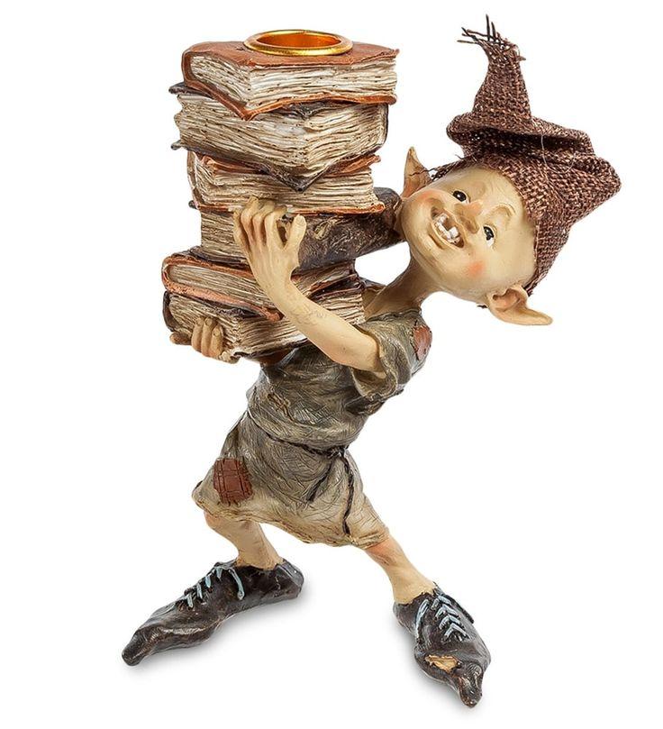 Фигурка «Гном с багажом знаний» ED-159      Страна производства: Китай;   Материал: полистоун;   Высота: 16 см;          #figurines #polyston #polyresin #статуэтки #фигурки #полистоун #гном
