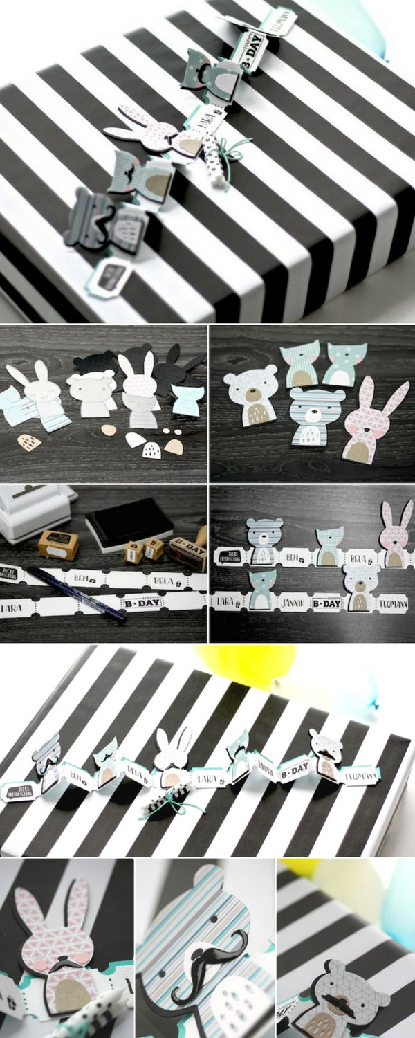 Create your very own papercraft animal bunting using some brand new Sizzix dies. These adorable little guys have even got mustaches! DIY Crafts - DIY Papercrafts - Animal Crafts - Birthday Crafts