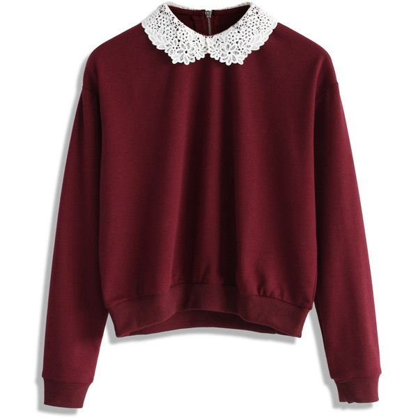 Chicwish Simple Wine Top with Crochet Collar ($42) ❤ liked on Polyvore featuring tops, sweaters, shirts, red, collar top, wine red shirt, wine top, red collar shirt et wine shirts