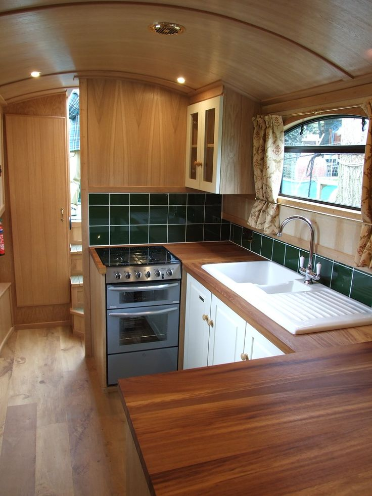 Love this galley on the viking by russ hubble boats houseboats pinterest bespoke the Ship galley kitchen design