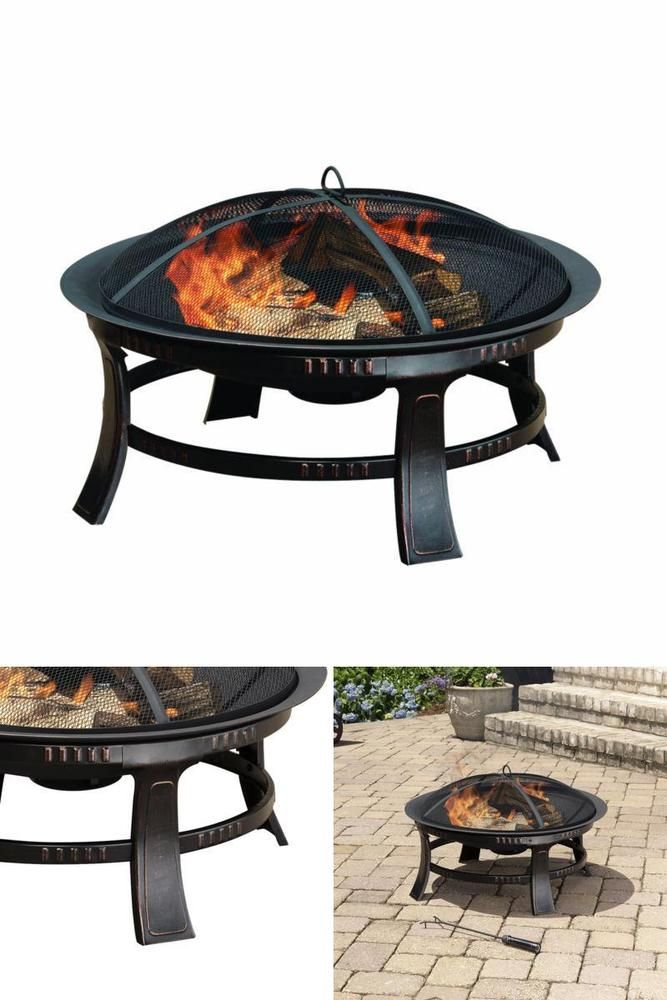 Round Fire Pit Screen Protector Wood Burning Bowl Garden Heater Outdoor Decor #PleasantHearth #fire,#pit,#garden,#yard,#patio,#set,#bbq,#outdoor,#wood,#burning,#bowl,#screen,#protector