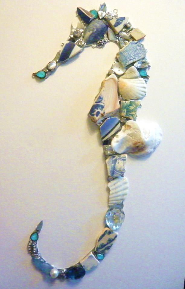 sea horse: shells, pottery, beads/jewels/: recycled materials