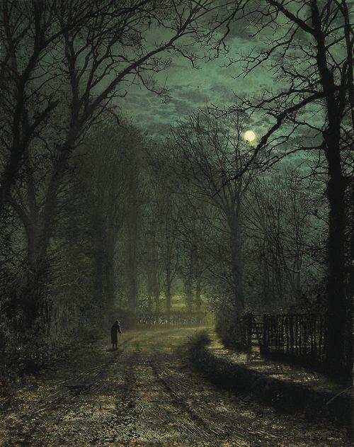 pumpkinseason:  A Yorkshire Lane in November by John Atkinson, 1873: Grimshaw 1836 1893, November, Atkinson Grimshaw, Posts, John Atkinson, Artist, 1873, Painting