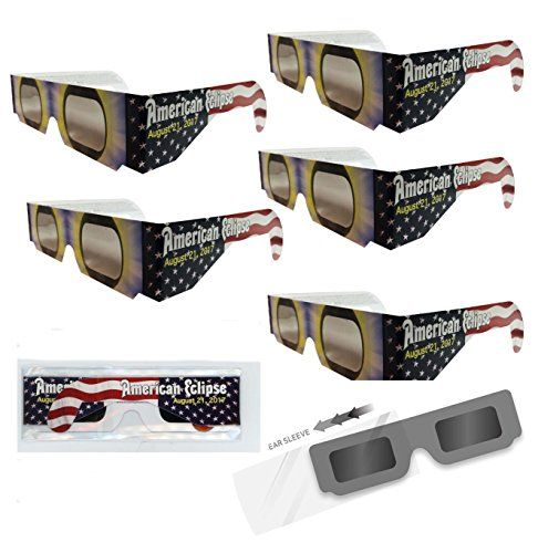"Solar Eclipse Glasses - ISO Certified, CE Approved- 5 Pairs Sleeved - ""American Flag"" Solar Shades"
