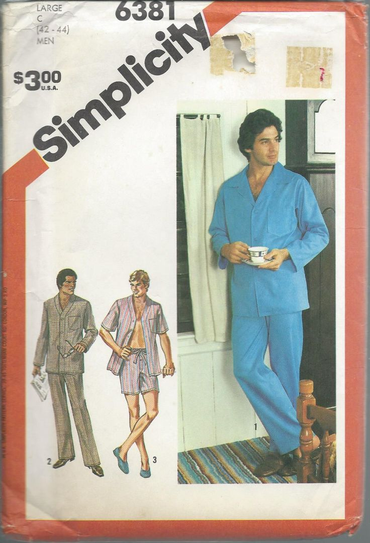 Simplicity, 6381, Mens Pajamas, Men Sleepwear, Mens Loungewear, Mens PJs, Sewing Pattern, Men Nightshirt, Sleep Pants, Shorts, PJs, Pajama by SewWorksPatternsPlus on Etsy