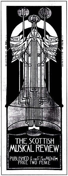 Чарльз Ренни Макинтош  Рекламный плакат  Шотландского музыкального ревю. 1896 г.  Образец так называемого  линейного дизайна школы Глазго