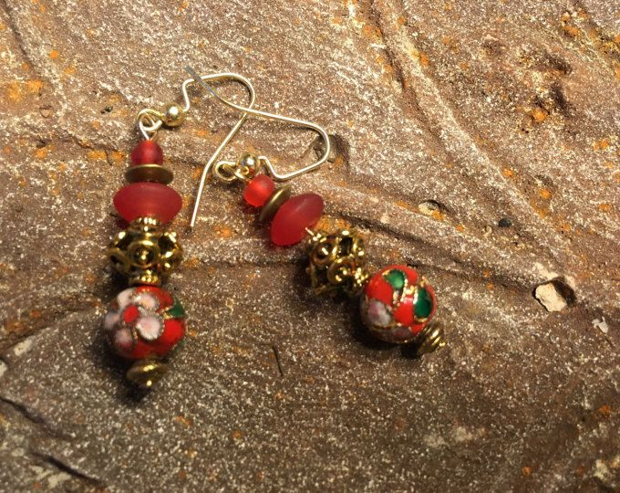 Cloisonne Chinese Style Earring, Vintage Style for Christmas or a Chinese New Year Celebration, 14K Gold, Prom Earring, Mother Jewelry, Grandmother, Asian Style, Brass, Cherry Red, Flower