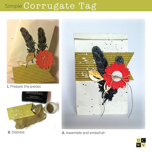 Beautiful Corrugate Tag project from @Papierkleckse; head to your local @HobbyLobby to get started!