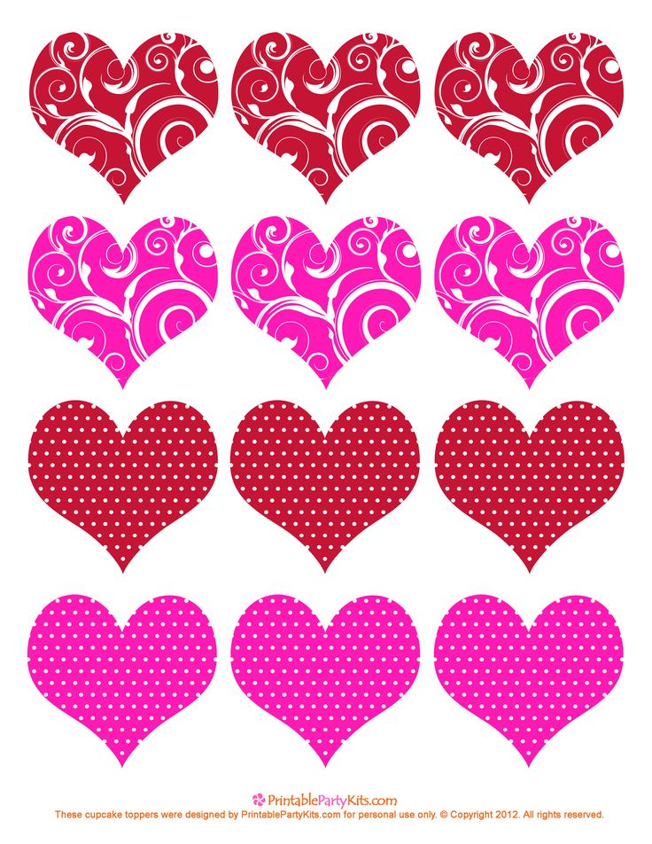 #valentine hearts cupcake toppers