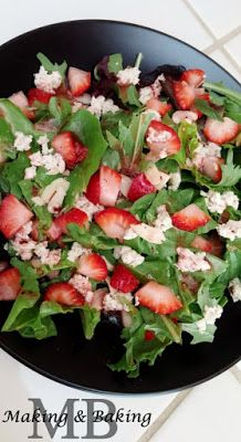 Strawberry Almond Chicken Salad with Raspberry Hazelnut Vinaigrette. Yum!