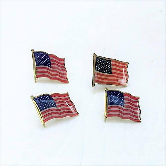 Vintage American Flag Pins Patriotic Flag Pin Set of Four USA