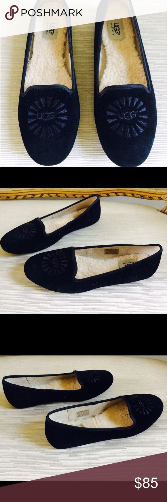UGG AUSTRALIA Alloway Black Slippers UGG AUSTRALIA Alloway Black Slippers. Size 9. Upper leather. Lining: leather and genuine sheepskin. Outsole: rubber. Satin trim. New with Box. UGG Shoes Slippers