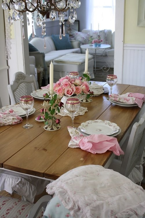 Blush Pink Rose Shabby Chic Table Setting Via That Inspirational Girl