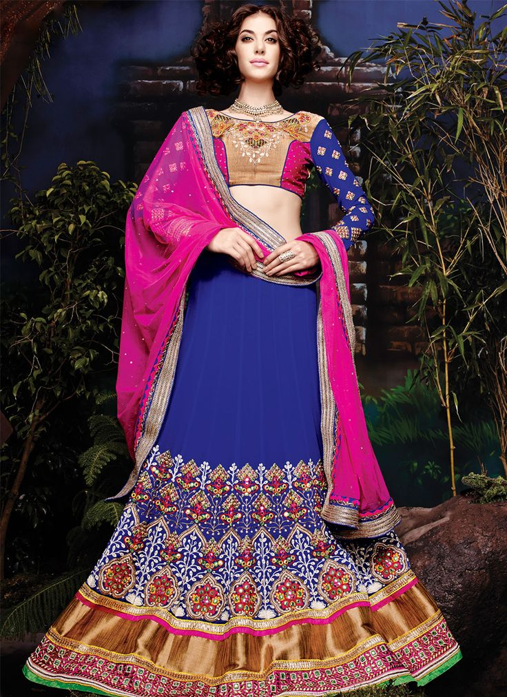 Blue wedding wear bridal lehenga choli supplier  Grab full catalog online @ http://www.suratwholesaleshop.com/5008-Glorious-Yellow-Georgette-Half-N-Half-Wedding-Wear-Saree?view=catalog&page=2   #wholesalelehengas #lehengas #bulklehengas #cheaplehengas #heavyworklehengas #bridallehengas #suratlehengas #onlinelehengasshopping