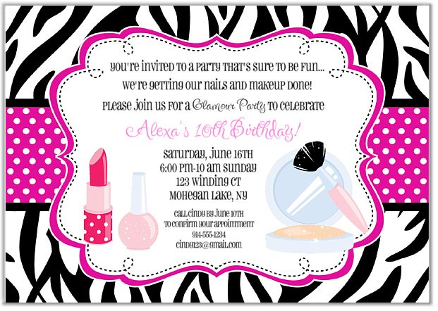 Glamour Girl Makeover Birthday Party Invitations-glamour,girl,makeup,invitations,zebra,  birthday,party,personalized,glamour girl makeup birthday party invitations