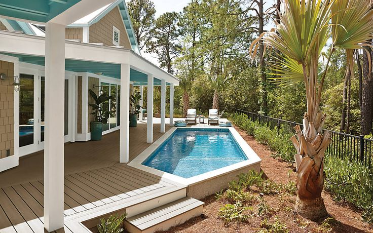 #Trex #decking looks even better when it's poolside. Get this luxurious look with Trex Transcend in Gravel Path.