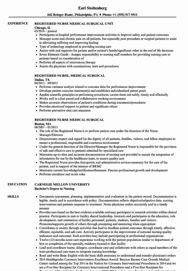 Nursing Clinical Experience Resume Elegant Registered