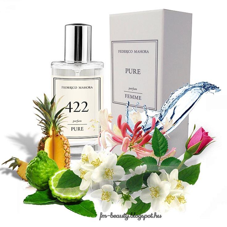 FM 422 PURE női parfüm Tola - Misqaal-szerű illat.  Könnyed, finom, hűvös illat gyümölcsös jegyekkel.  Illatcsalád: fás-gyümölcsös. Fejjegyek: bergamott, ananász, akvatikus jegyek. Szívjegyek: jázmin, lonc, rózsa. Alapjegyek: pacsuli, fehér pézsma, ámbra.