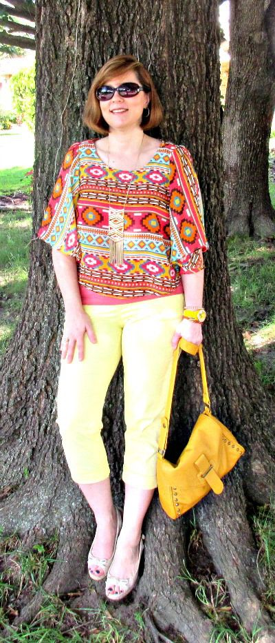 Yellow crops and Aztec print for Summer: Over 40 blogger