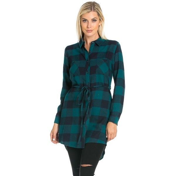 Belted Long Sleeve Plaid Flannel Shirt Dress in Green (32 BGN) ❤ liked on Polyvore featuring dresses, long sleeve mini dress, button up shirt dress, button down shirt dress, t-shirt dresses and shirt dresses