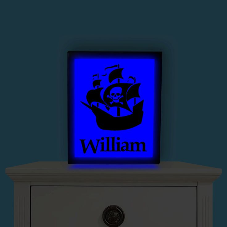 Pirate Ship, Night Light, Pirate Ship lamp, Pirate Ship Nightlight, Pirate Nightlight, Pirate Picture, Personalized Night Light by IlluminatedDreamz on Etsy https://www.etsy.com/listing/261104051/pirate-ship-night-light-pirate-ship-lamp