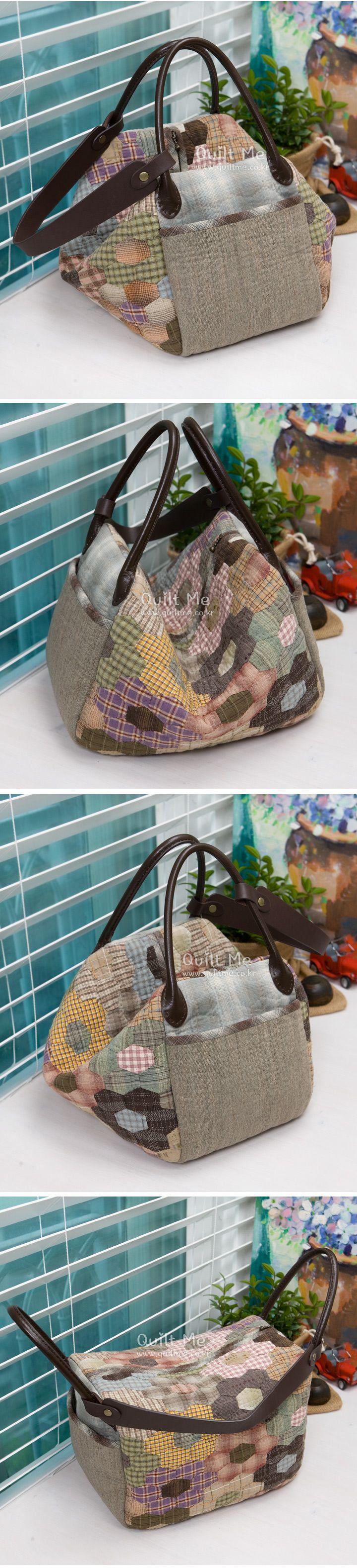 Americana del edredón - Hexágono múltiples parche manejar bolsa; Medidas: Ancho 30cm, Vertical 20cm, lateral (parte inferior) 18,5 cm *