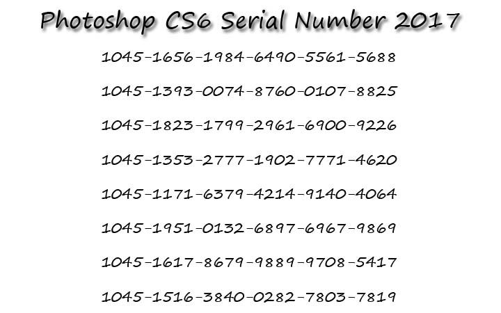 photoshop serial number cs6