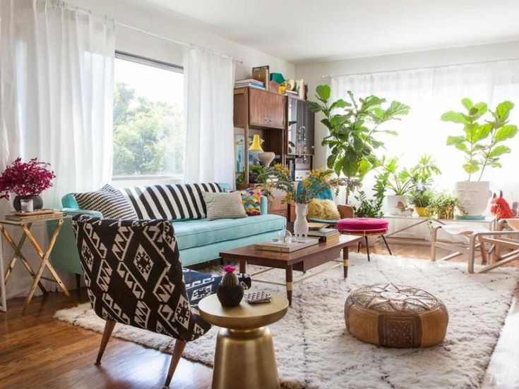 Natural Living Room Decorating Ideas With White Wall Color And Tribal Printed Chair