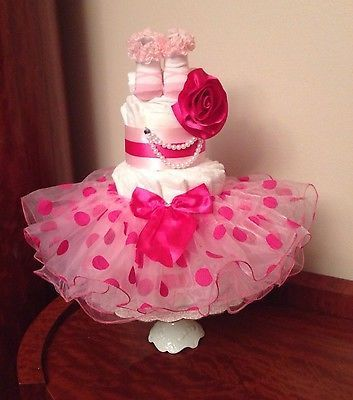 Princess Tutu Flower Baby Girl 3 Tier Diaper Cake Pink Shower Welcome Gift…