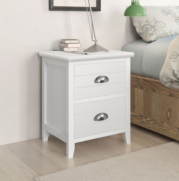 Pair White Bedside Cabinets Phone Table Small Nightstand 2 Drawers Storage Unit
