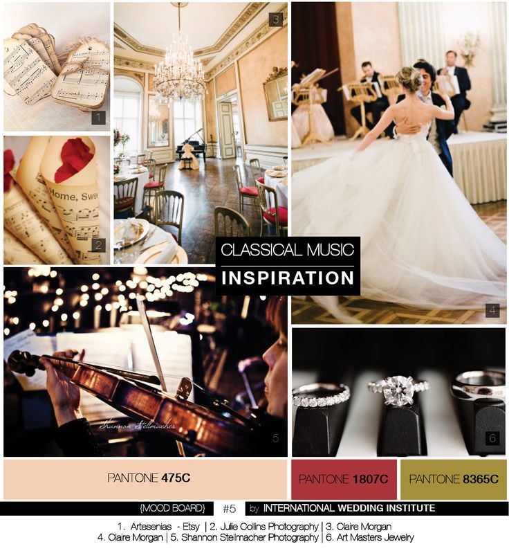 Planche d'inspiration mariage musique classique . Wedding Mood Board Classical music