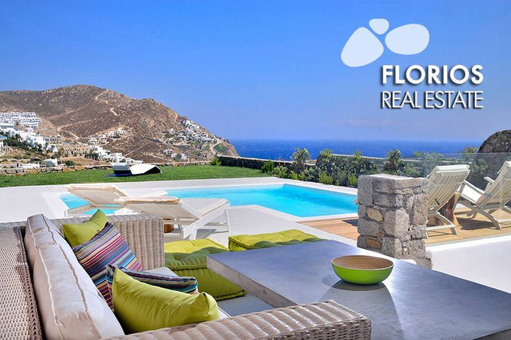 A garden, in front of the pool, with lawn and flowers completes an environment of relaxation and wellness, overlooking the sea and the beach of Elia. FL1401 Villa for Sale at Elia, Mykonos island Greece http://www.florios.gr/en/mykonos-property/10.html