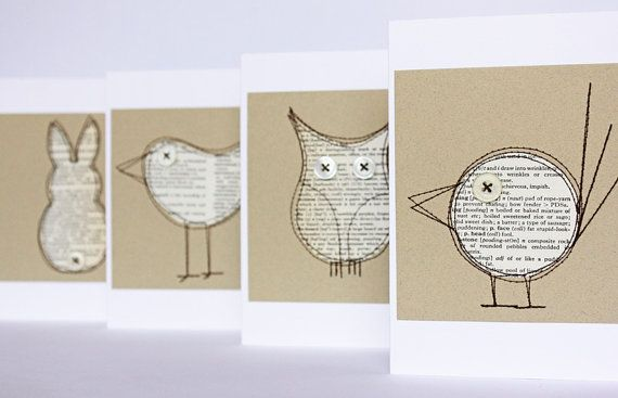 Set of four critter cards made from pages of an old book
