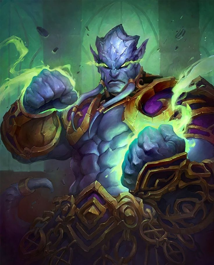 'could be djinn (crop lower part of pic.), pos'ly. w/name 'Amdelban...'  [Prince Malchezaar Hearthstone Card by Grace Liu]