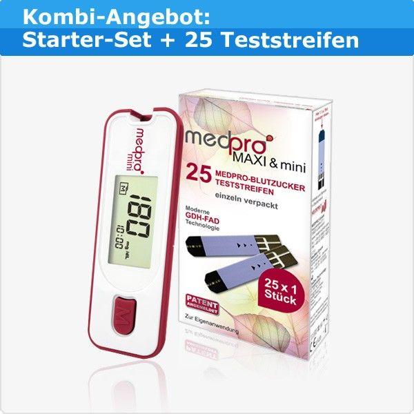 medpro® mini Kombi-Angebot: Blutzuckermessgerät + 25 Teststreifen für 16,95 €