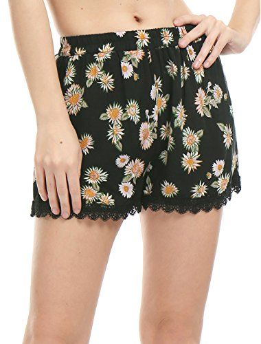 Allegra K Women Lace Hem Panel Flower Pattern Daisy Shorts M Black *** Want additional info? Click on the image. #WomensShorts