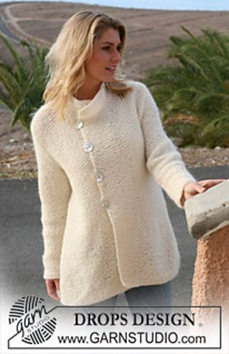 """Ravelry: 105-28 Jacket in moss st in """"Angora-Tweed"""" and """"Vivaldi"""" pattern by DROPS design - free pattern"""