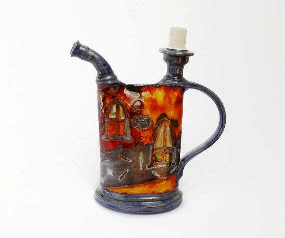 Pottery jug, Earthen pitcher with hand painted decoration, Water pitcher, Wheel thrown pottery, Brandy bottle