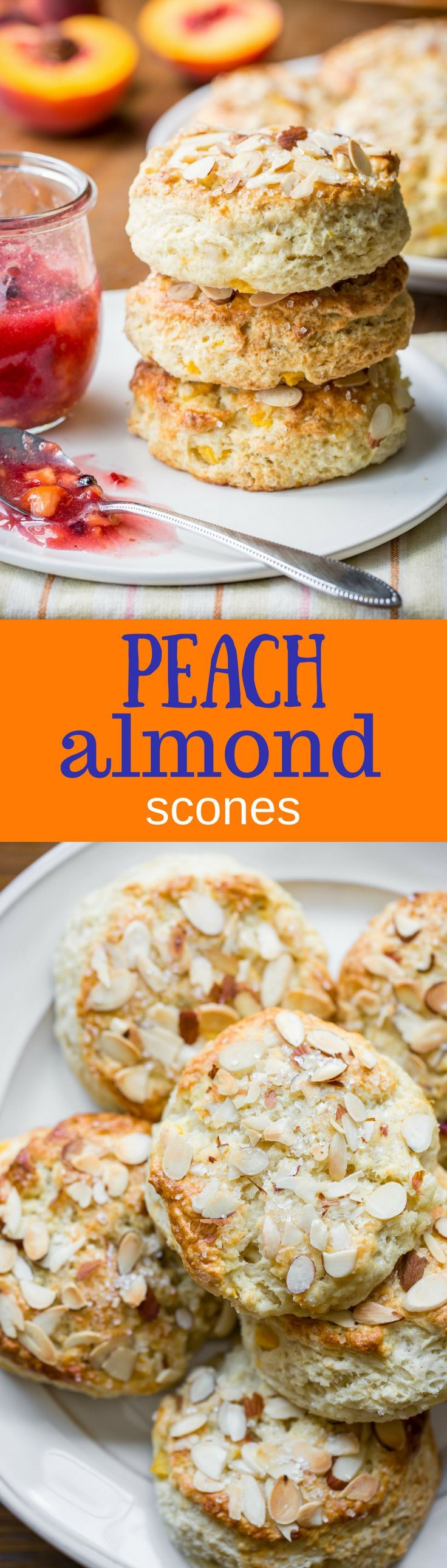 Almond Peach Scones ~ made with fresh diced peaches, grated almond paste and buttermilk, these scones are tender and delicious and super easy to make too!