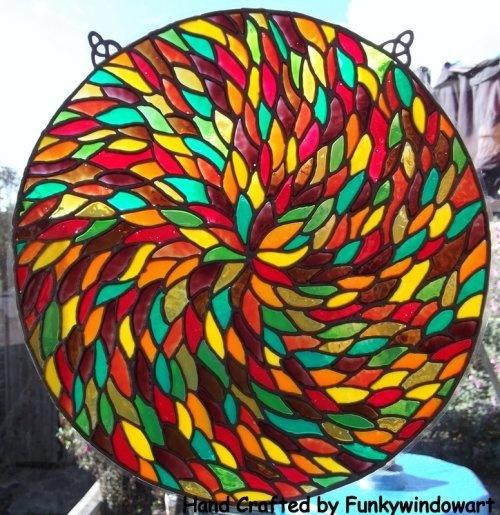 Autumn Leaves style Mandala 1 fenêtre Static Cling automne peint à la main quitte fenêtre statique s'accroche art fenêtre des effets de vitraux SunCatchers décalcomanies [] - £ 12.50: Art et Fenêtre, Fenêtre s'accroche Funky, SunCatchers, les effets de vitraux