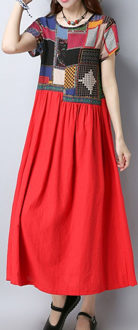 US$ 23.86 Women Ethnic Patchwork Short Sleeve Mid-Long Vintage Dresses