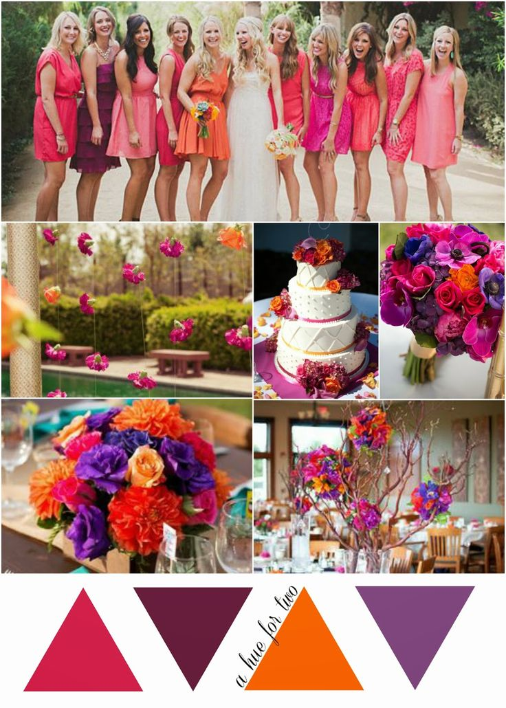 Hot Pink, Purple and Orange Tropical Wedding Color Scheme - A Hue For Two