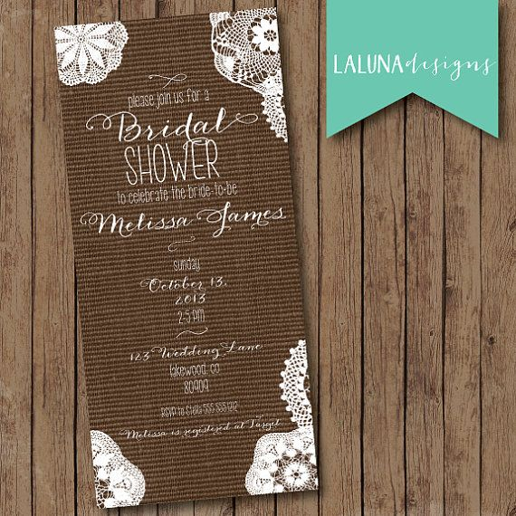Rustic Bridal Shower Invitation, Lace Burlap Bridal Shower Invite, Shabby Chic Bridal Shower Invite, Vintage Bridal Shower Invite, DIY