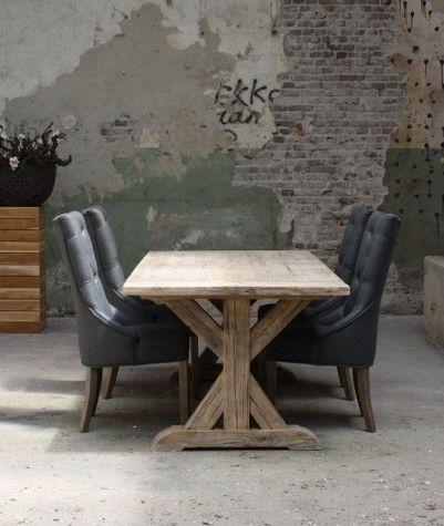 #Old Pine tafel met kruispoot: Mooie landelijke tafel uitgevoerd in massief Old Pine. Gemaakt uit antieke balken en vloerdelen.