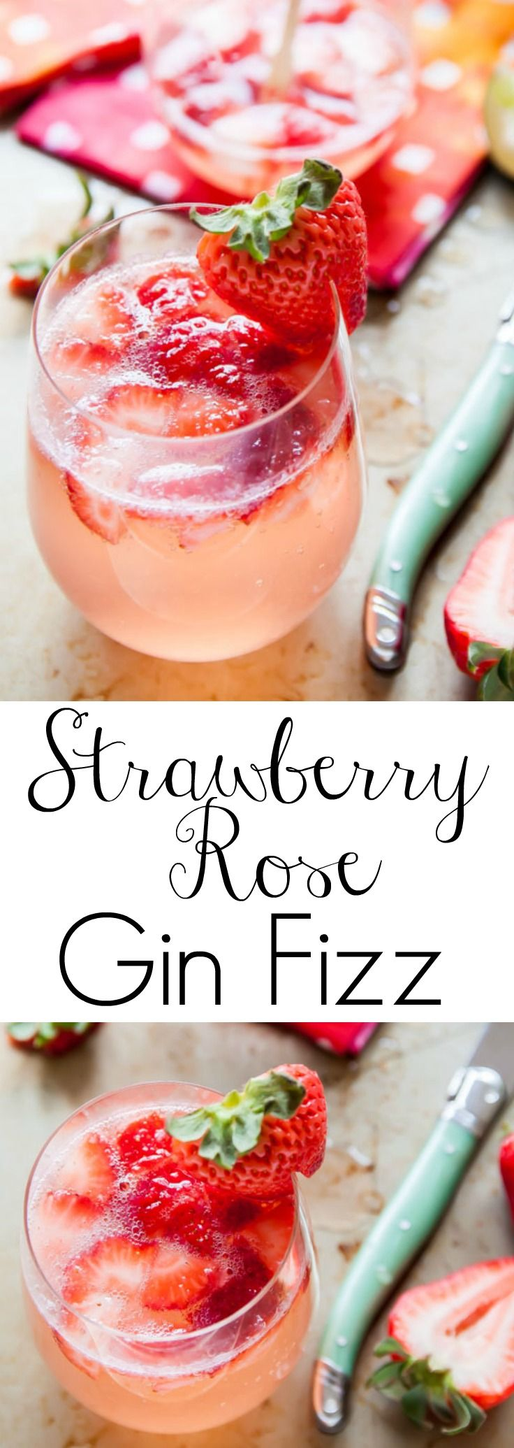 Strawberry cocktail with rose water, gin and a little fizz! So festive for Valentine's Day!