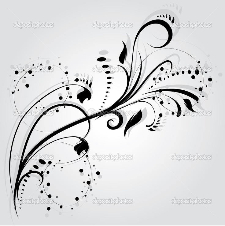 Floral Silhouette Element For Design Vector Tattoo  Stock