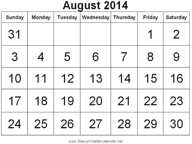 27 Best August 2014 Calendar Images On Pinterest 2014 Calendar