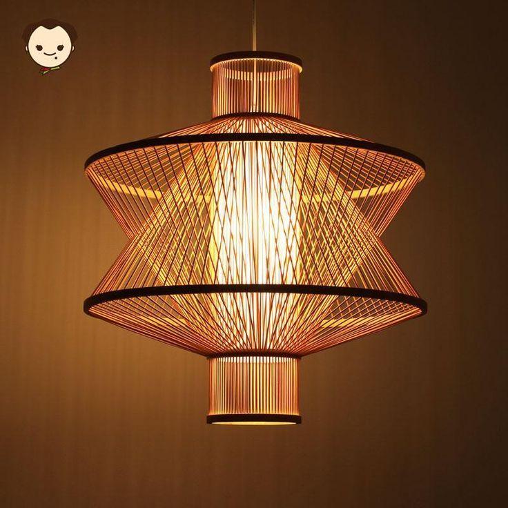 Big Bamboo Wicker Rattan Shade Pendant Light Fixture Asian Hanging Ceiling Lamp #HelloMaodada #Asian