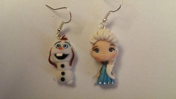 Orecchini in fimo Elsa e Olaf  Frozen di Julygia su Etsy