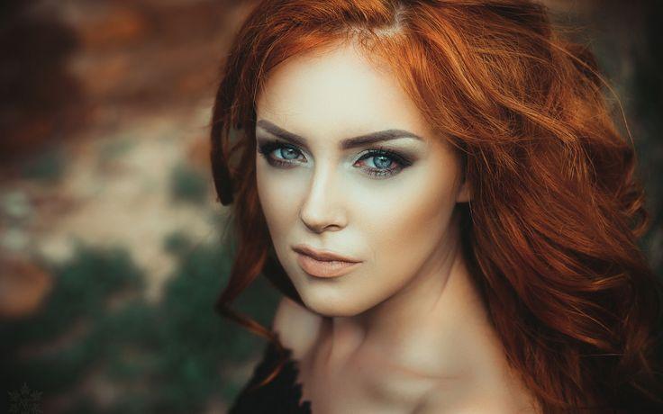 девушка, рыжая, глаза, взгляд, макияж, портрет 1680x1050